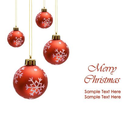 Red christmas balls over white background photo