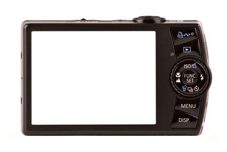 Appareil photo numérique compact de vue arrière. Espace vide pour votre image ou de texte.