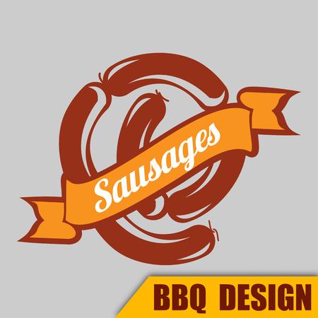 BBQ ribbon sausages on gray background, vector illustration. Illustration