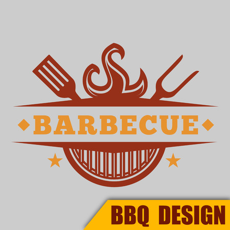 BBQ Barbecue Logo Hot Vector Image