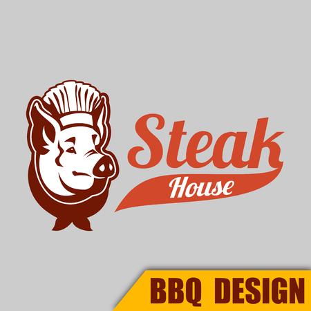 BBQ Pig Steak house emblem Vector Image Illustration
