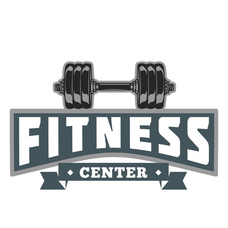 Fitness Power Club Image, barbell design. Vettoriali