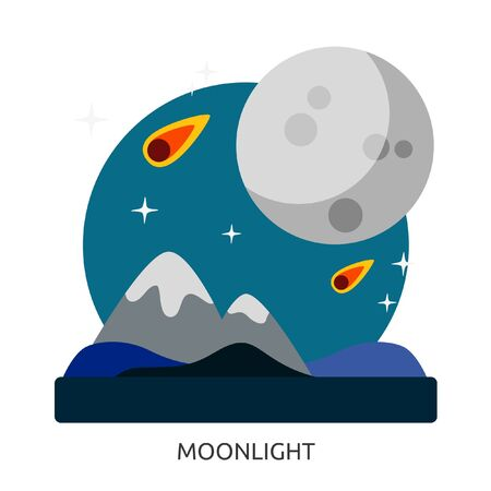 Space Moonlight Vector Image