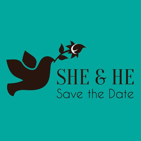 Wedding She and He Vector Image Illustration