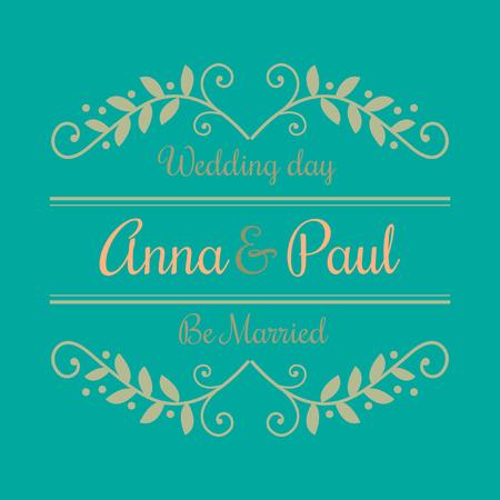 花の国境を持つアンナとポールの招待状の結婚式の日。ベクトル画像