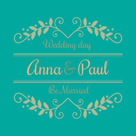 Wedding Day of Anna and Paul invitation card with floral border. Vector Image