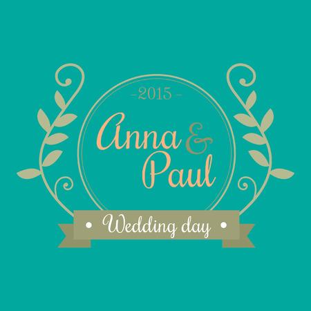 花のボーダーデザインとアンナとポールタイポグラフィと結婚式の日カードテンプレート