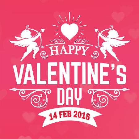 バレンタインデー ピンクキューピッド 2月ベクトル画像  イラスト・ベクター素材