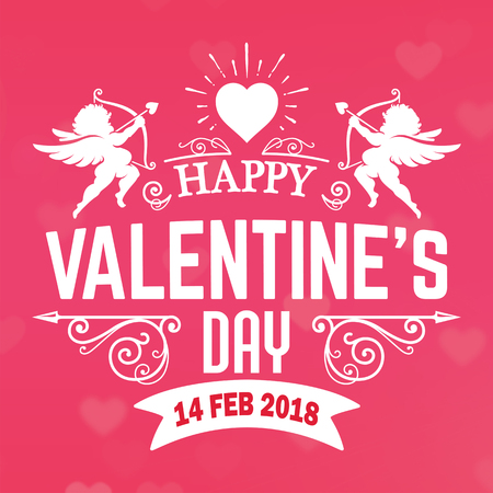 Valentine Day Pink Cupid February Vector Image Illustration
