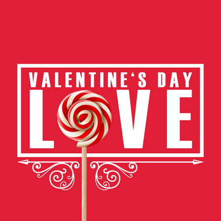 Valentine day greeting card design with LOVE Lollipop on red background.