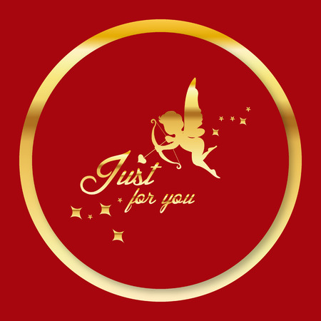 Valentine Day - Golden cupid just for you Vector Image 일러스트