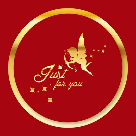 Valentine Day - Golden cupid just for you Vector Image Illusztráció