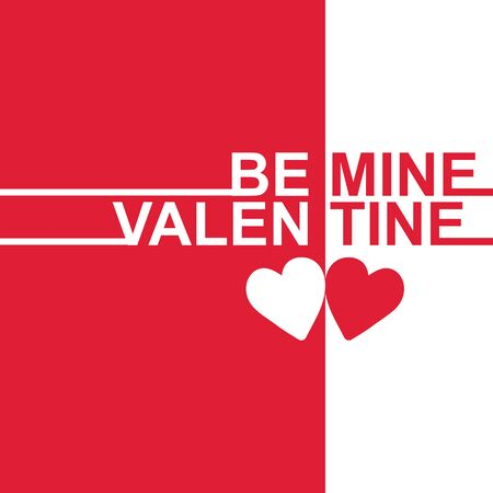 Valentine Day - Be mine Valentine two tone Vector Image Stok Fotoğraf - 92102424