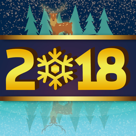 Winter Background 2018 with reindeer in lakeside view.