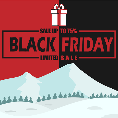 Winter Black Friday Sale 75% Limited Vector Image