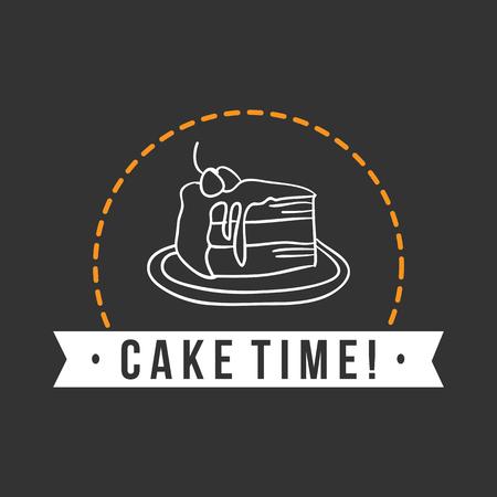 Bakery cake time! Dark background vector Illustration