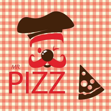 Mr. Pizza in Red and Brown icon Vector
