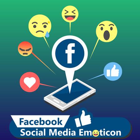 Immagine di vettore del fondo dell'emoticon di media sociali di Facebook Vettoriali