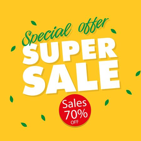 Banner Special Offer Super Sale 70% Off Vector Image.