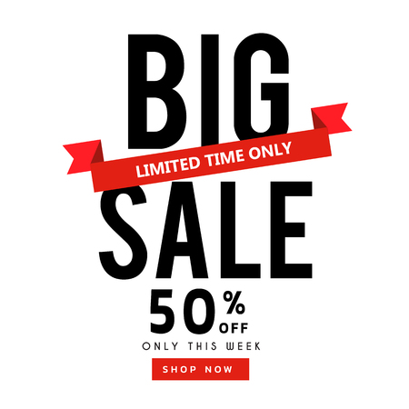 Banner Big Sale 50% Limited Time Only Ribbon Vector Image.