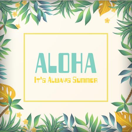 Aloha its always summer jungle background vector image