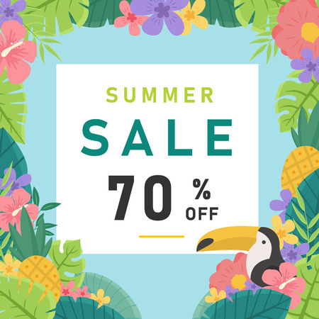 Summer Sale 70% Off Jungle Background Vector Image Illustration