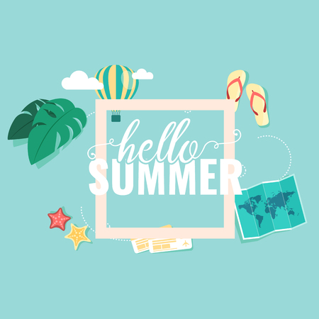 Hello Summer Square Blue Sky Background Vector Image.