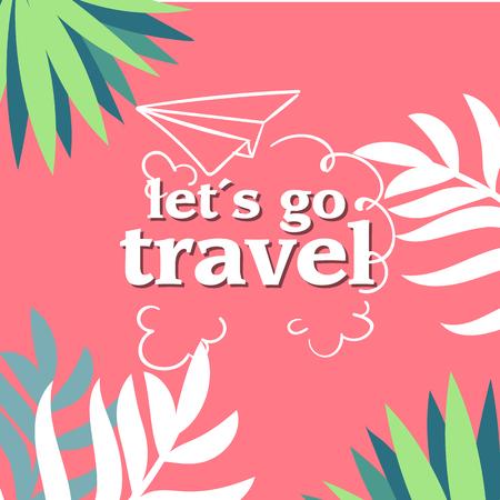 Lets Go Travel Jungle Pink Background Vector Image