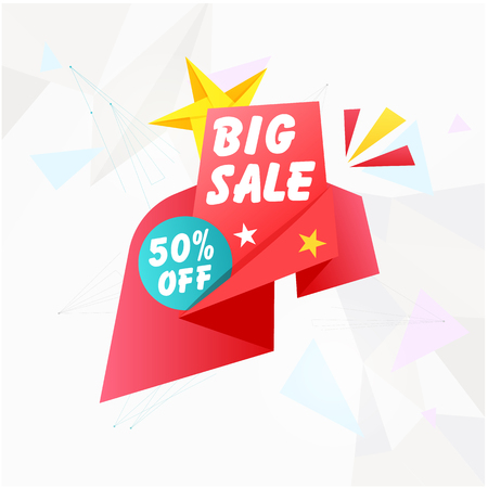 Banner Big Sale 50% Off Vector Image Illustration