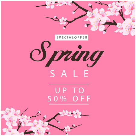 Special Offer Spring Sale Up To 50% Off Sakura Background Vector Image 일러스트