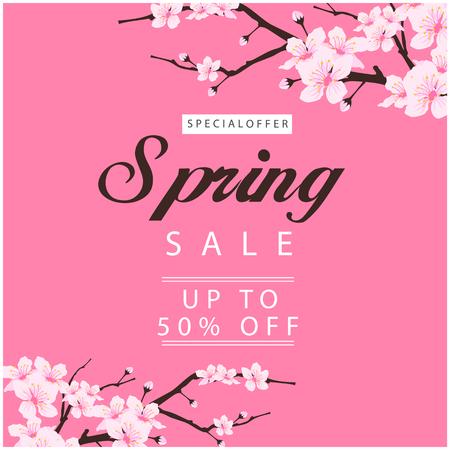 Special Offer Spring Sale Up To 50% Off Sakura Background Vector Image Illustration
