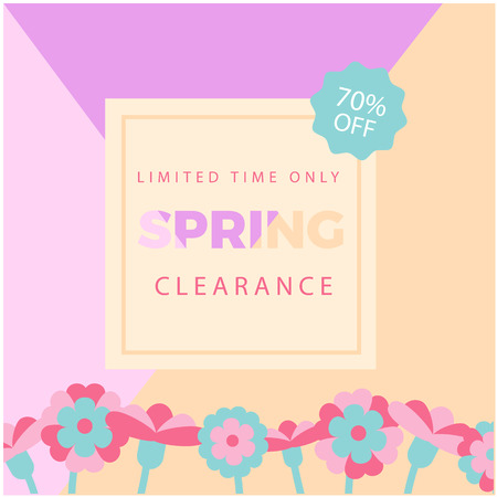 Limited time Only Spring Clearance 70% Off Colorful Background Vector Image
