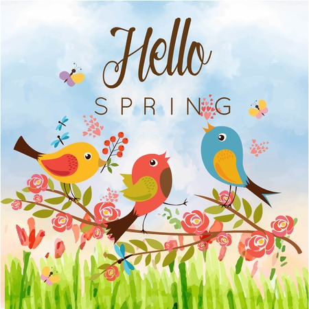 Hello Spring Birds Butterfly Blue Sky Background Vector Image