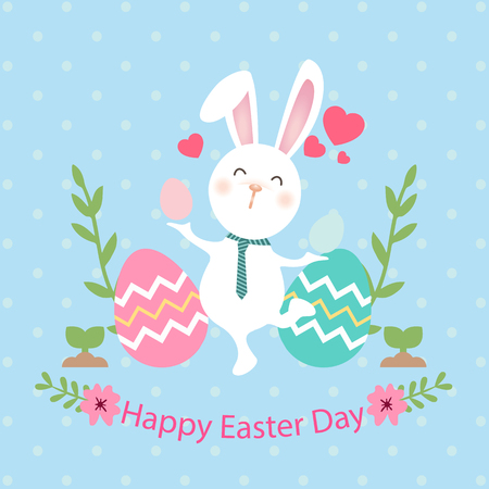 Happy Easter Day Bunny Egg Blue Background Vector Image