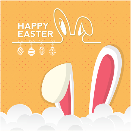 Happy Easter Bunny Ear Clound Orange Background Vector Image