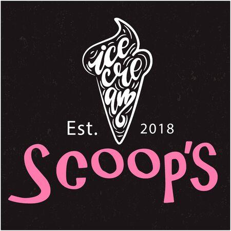 Scoops Ice Cream Est.2018 Black Background Vector Image
