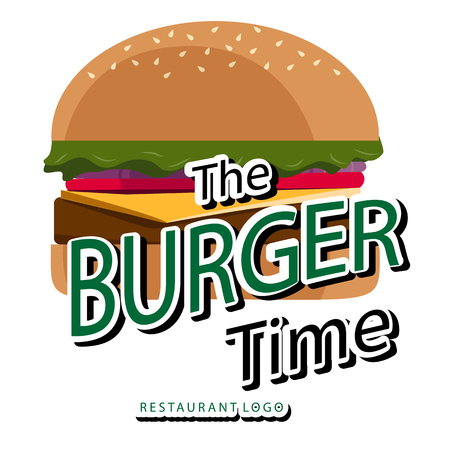 The Burger Time White Background Vector Image Stock Illustratie