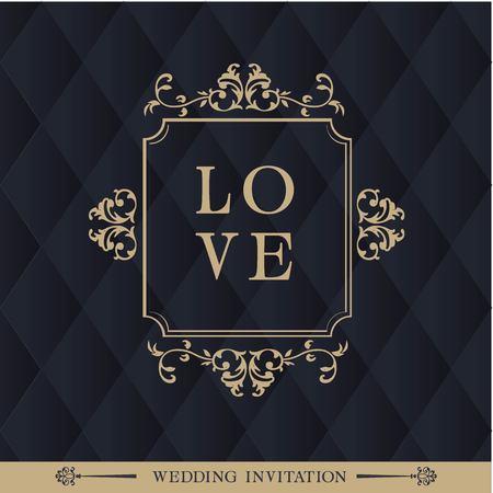 Love Square Retro Black Background Vector Image Illustration