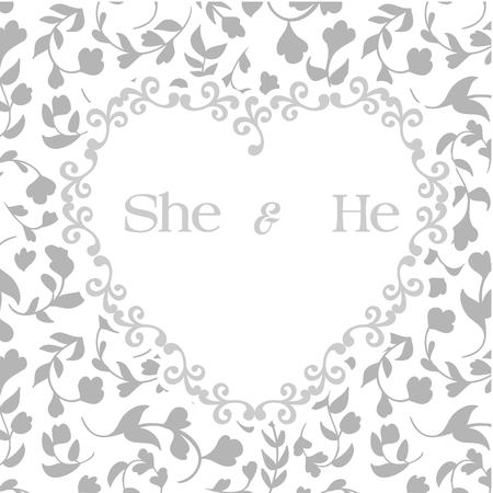 She & He Heart Frame Retro Grey Background Vector Image