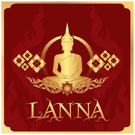Lanna Buddha Statue Red Background Vector Image Illustration