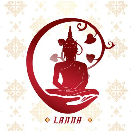 Lanna Buddha Statue White Background Vector Image Stock Vector - 95523223
