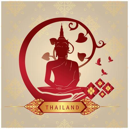 Thailand Buddha Statue Copper Background Vector Image Illustration