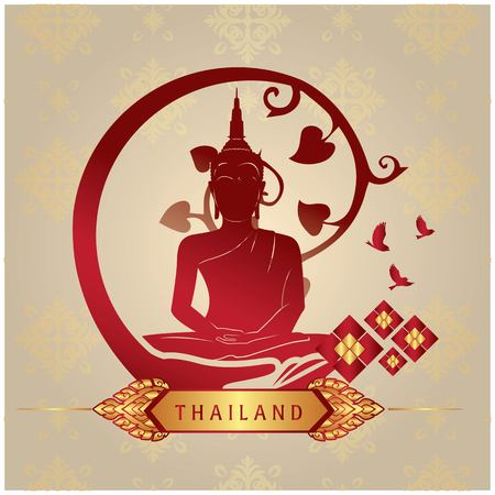 Thailand Buddha Statue Copper Background Vector Image Stock Vector - 95523224