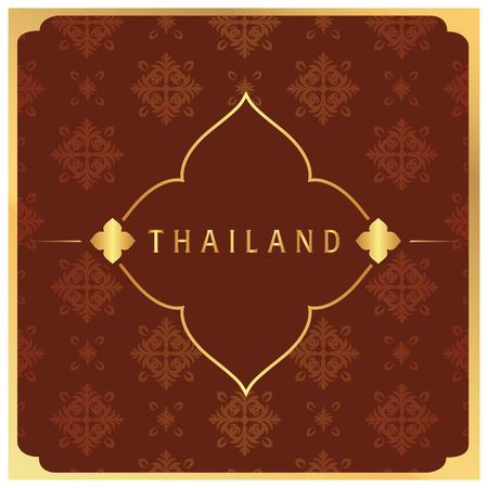 Thailand Flower Frame Thai design Red Background Vector Image
