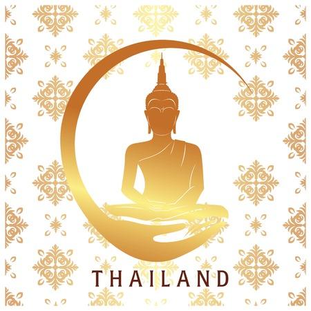 Thailand Gold Buddha Statue Thai design White Background Vector Image