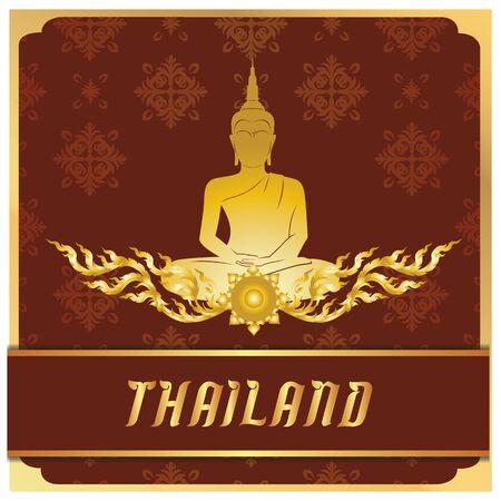 Thailand Buddha Statue Thai design Red Background Vector Image