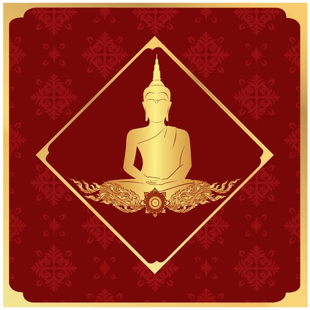 Buddha Statue Frame Thai design Red Background Vector Image Stock Vector - 95522879