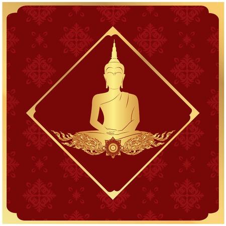 Buddha Statue Frame Thai design Red Background Vector Image Illustration
