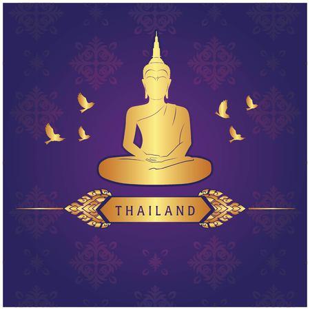 Thailand Buddha Statue Bird Thai design Purple Background Vector Image