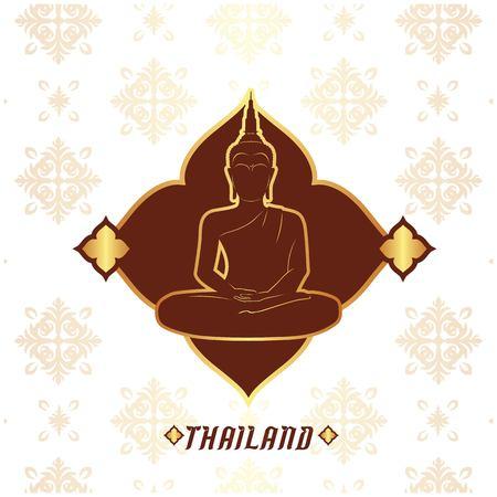 Thailand Buddha statue, Thai design pink background vector image. Illustration